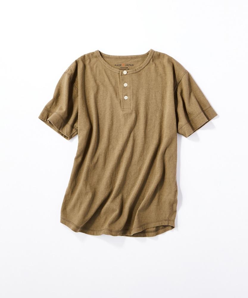 BACK NUMBER 【WEB限定】日本製岐阜ガラガラ糸綿麻ヘンリーネックTシャツ カーキ