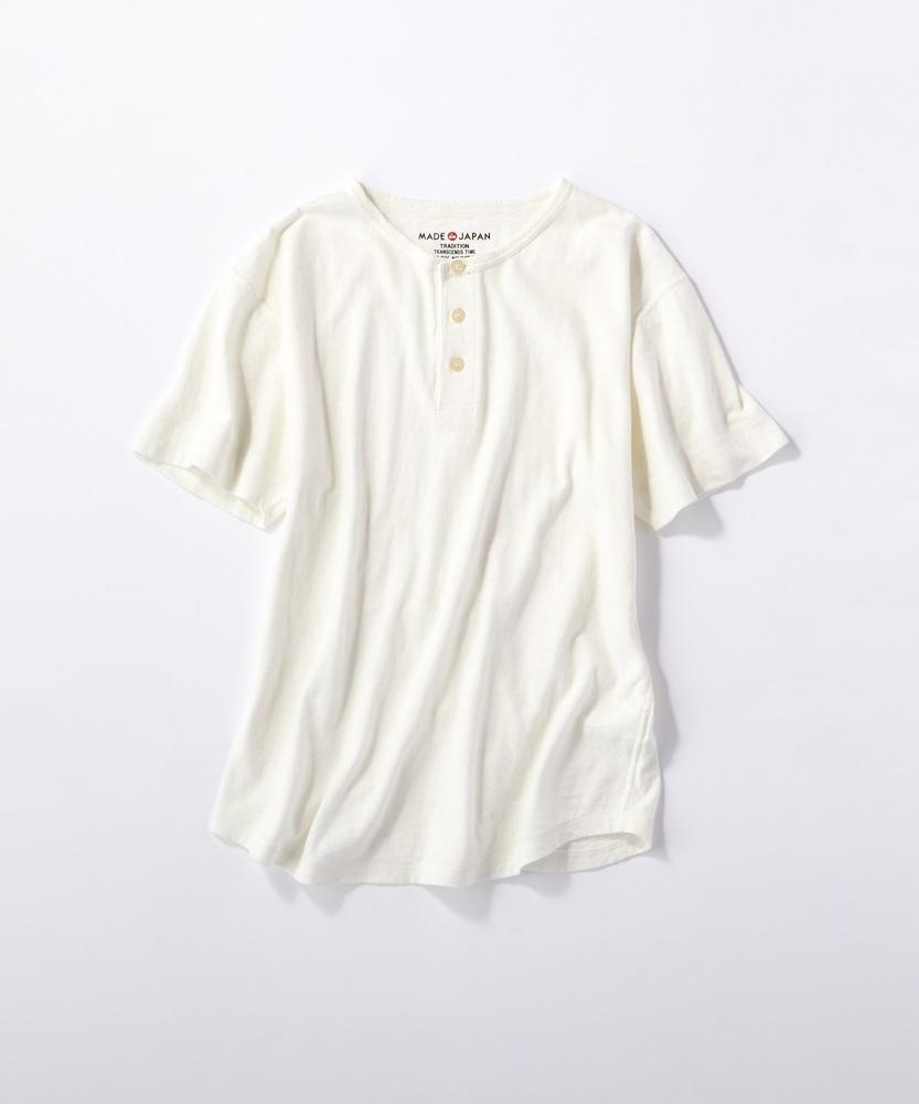 BACK NUMBER 【WEB限定】日本製岐阜ガラガラ糸綿麻ヘンリーネックTシャツ オフシロ