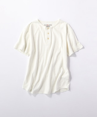 BACK NUMBER 【WEB限定価格】日本製岐阜ガラガラ糸綿麻ヘンリーネックTシャツ オフシロ