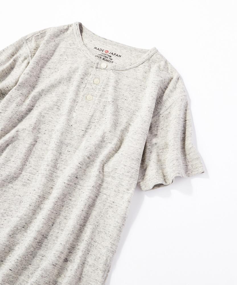 BACK NUMBER 【WEB限定】日本製岐阜ガラガラ糸綿麻ヘンリーネックTシャツ グレー