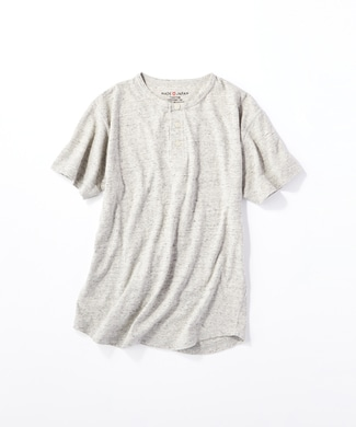 BACK NUMBER 【WEB限定価格】日本製岐阜ガラガラ糸綿麻ヘンリーネックTシャツ グレー