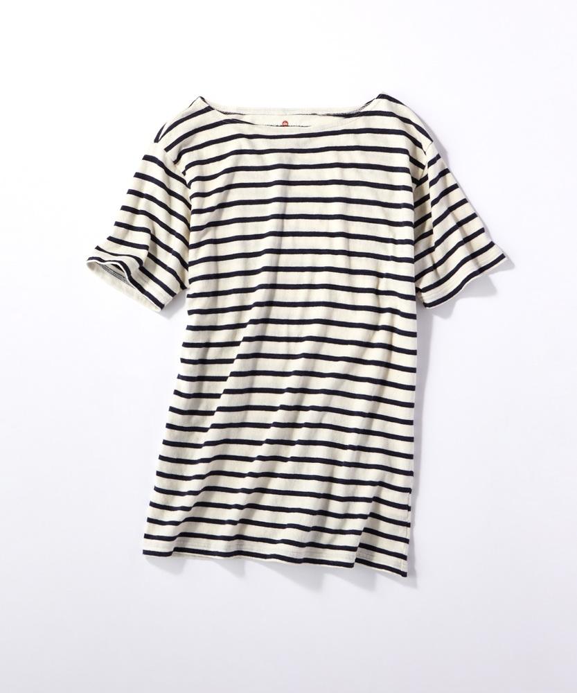 BACK NUMBER 【WEB限定】日本製新潟スペック染ボーダー半袖Tシャツ キナリ*ネイビー
