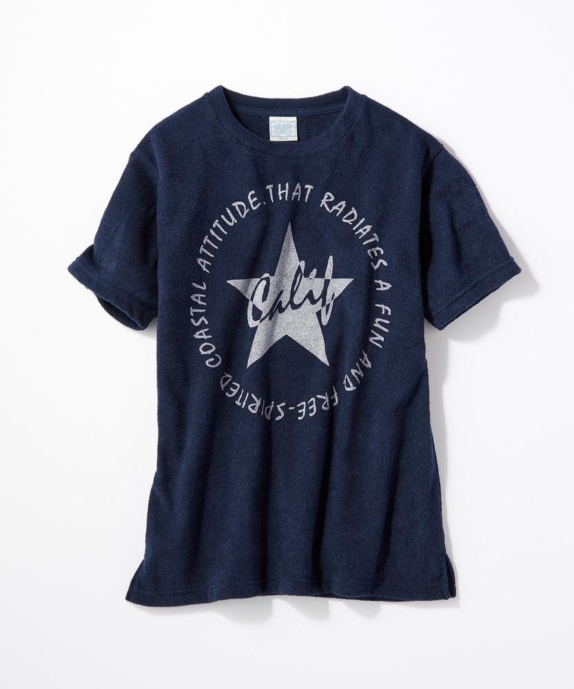 KALUA BAY サマープリントパイルTシャツ メンズ ネイビー