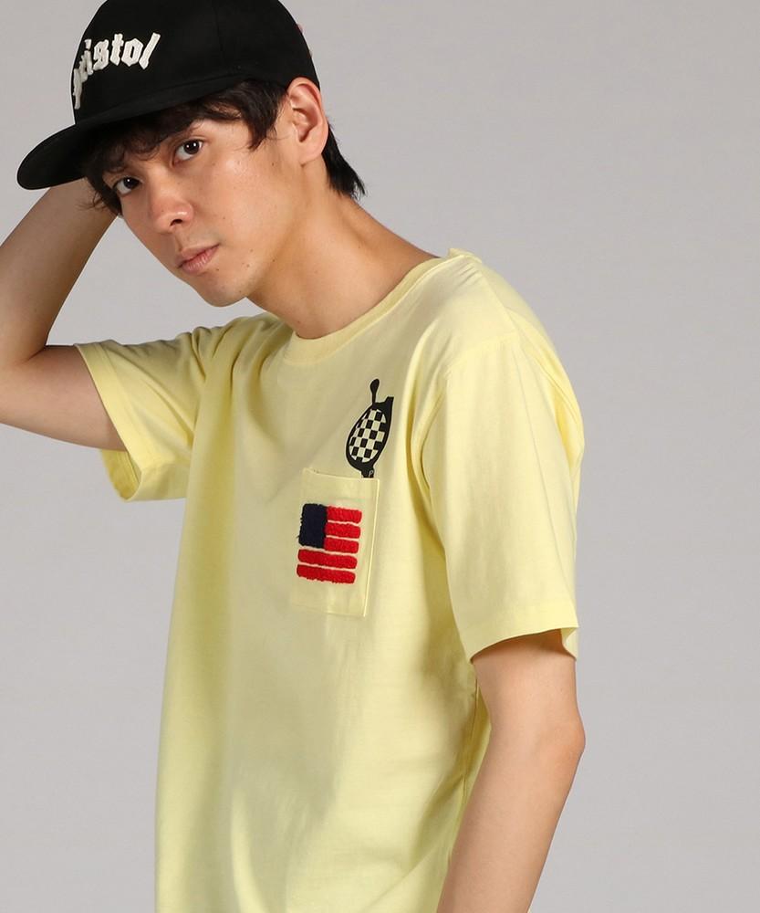 未入力 ギミックプリント半袖Tシャツ メンズ イエロー