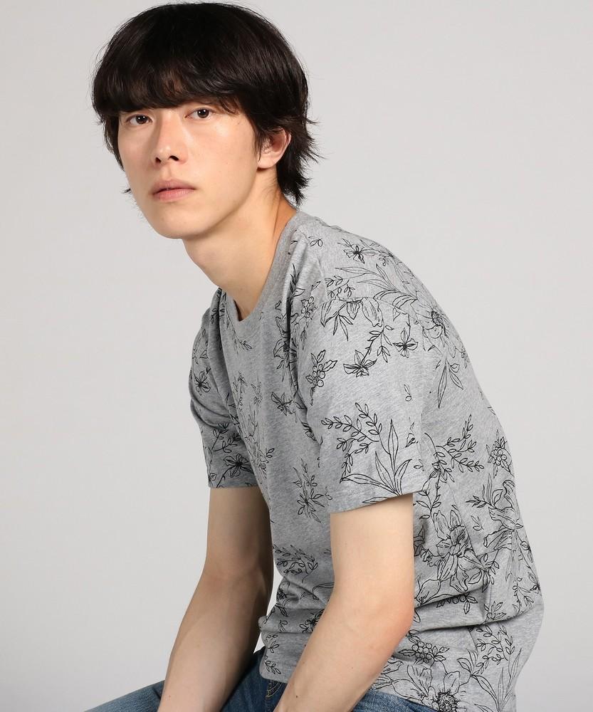 LAB 総柄プリント半袖Tシャツ メンズ グレー