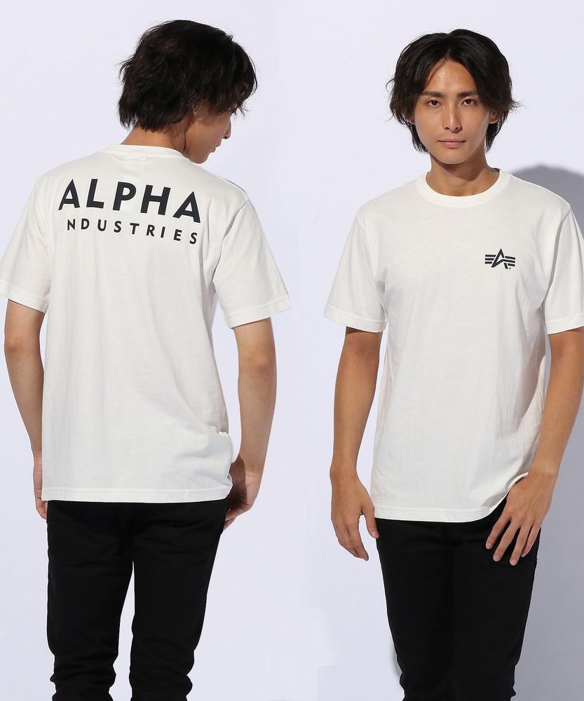 ALPHA プリントTシャツ メンズ ホワイト