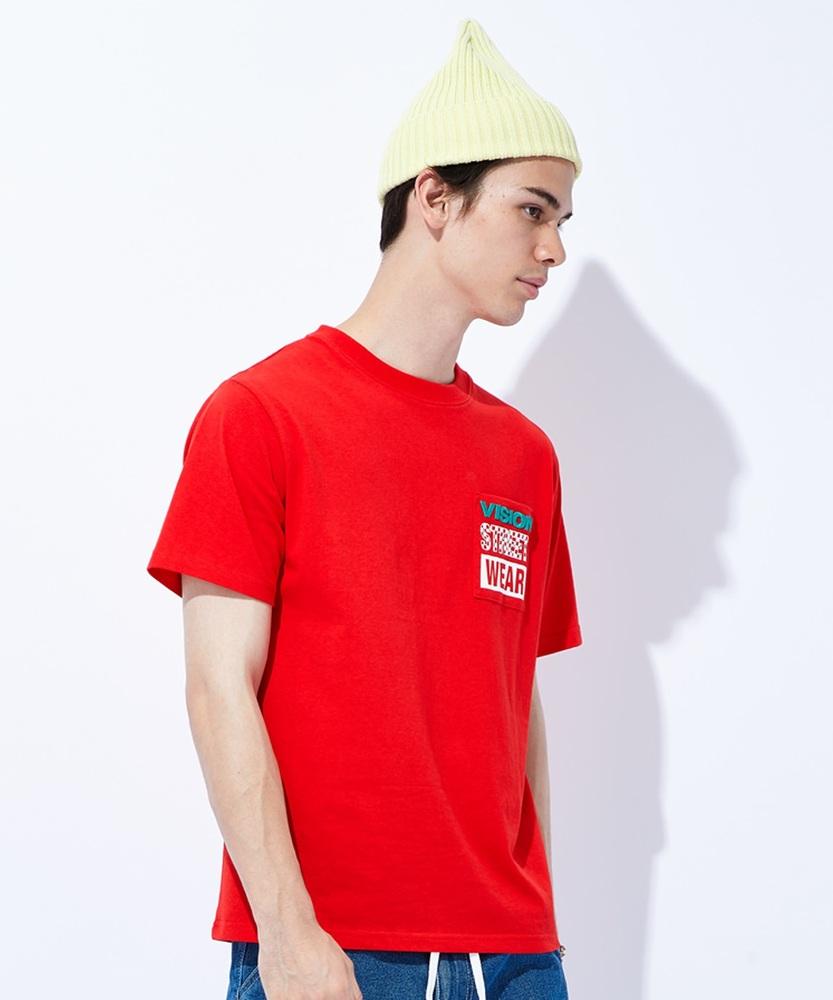 VISION ポケロゴTシャツ メンズ レッド