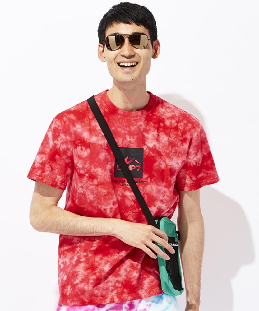CAMP7 タイダイTシャツ メンズ レッド