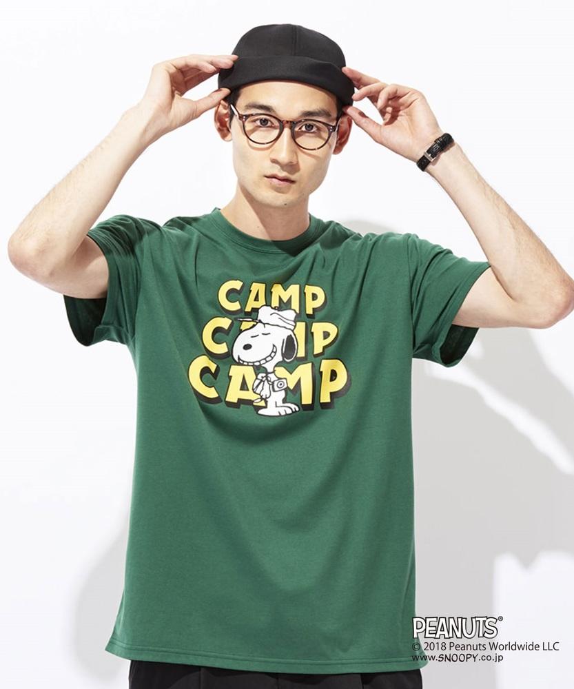 PEANUTS スヌーピーxCAMP7プリントTシャツ メンズ グリーン