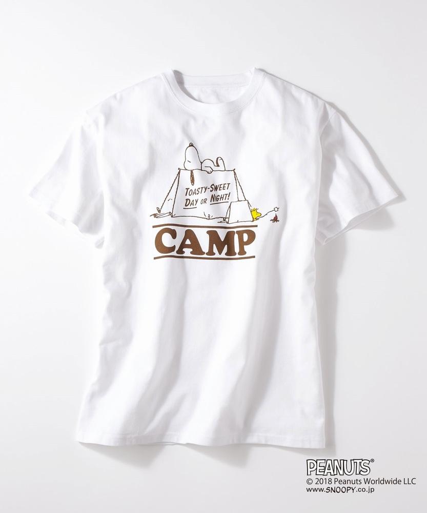 PEANUTS スヌーピーxCAMP7プリントTシャツ メンズ ホワイト