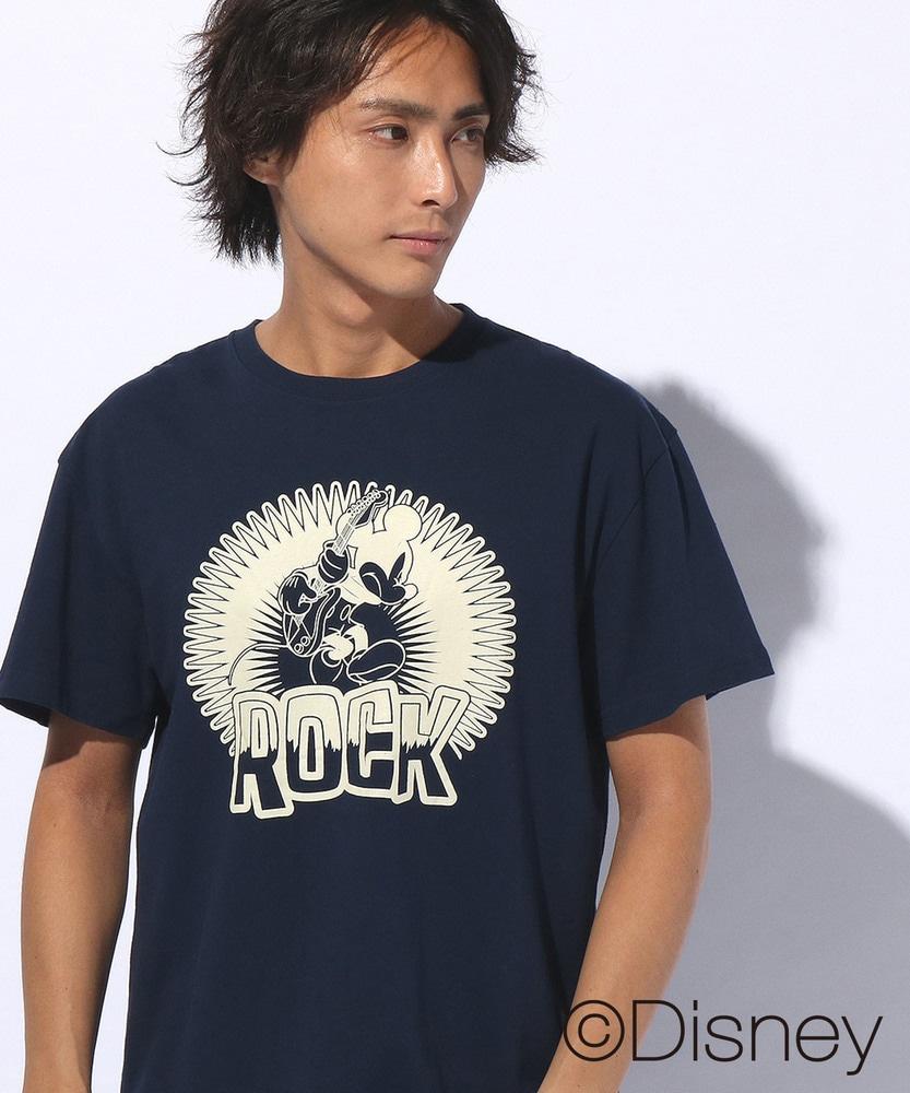 DISNEY ミッキーマウスデザインxCAMP7プリントTシャツ メンズ ネイビー