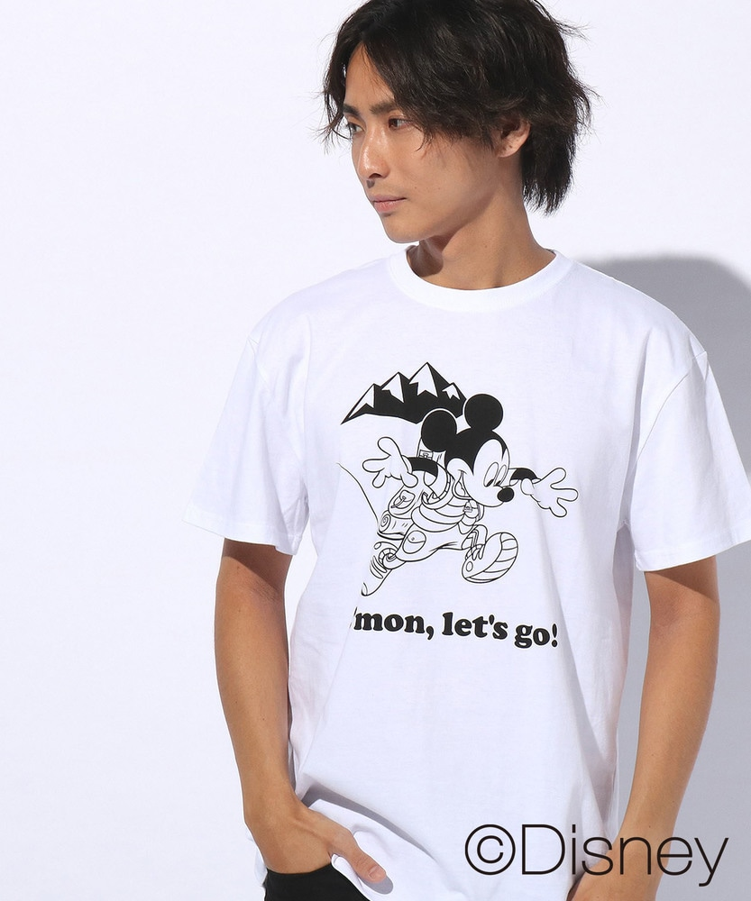 DISNEY ミッキーマウスデザインxCAMP7プリントTシャツ メンズ ホワイト