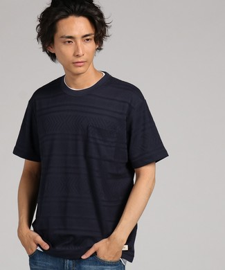 Natural Story ジャガードフェイクTシャツ メンズ ネイビー