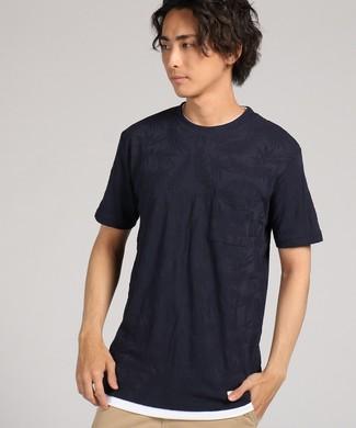 Natural Story ジャガードフェイクTシャツ メンズ *ネイビー