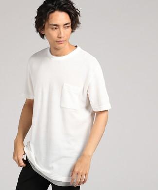 Natural Story 鹿の子ジャガードフェイクTシャツ メンズ ホワイト