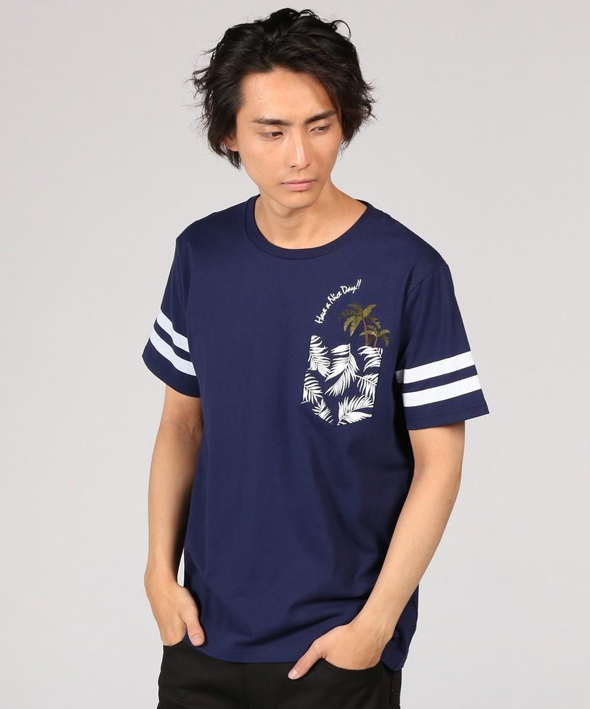 TOP SIDER ヤシの木刺繍ポケットクルーネックTシャツ メンズ ネイビー