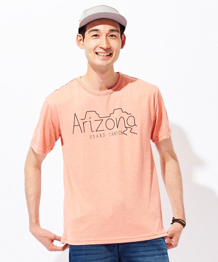 Authentic Garments 天竺プリントTシャツ メンズ オレンジ