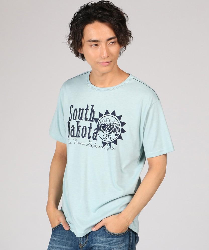Authentic Garments 天竺プリントTシャツ メンズ グリーン