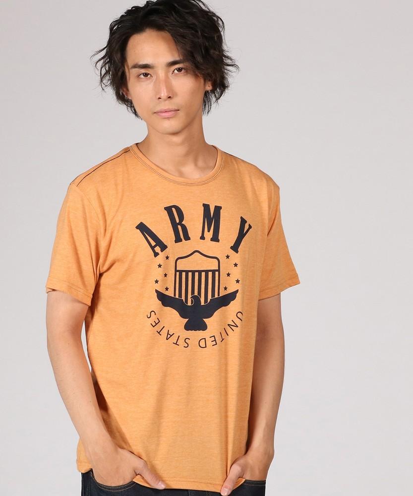 Authentic Garments 片染め杢天竺プリントTシャツ メンズ ダークイエロー