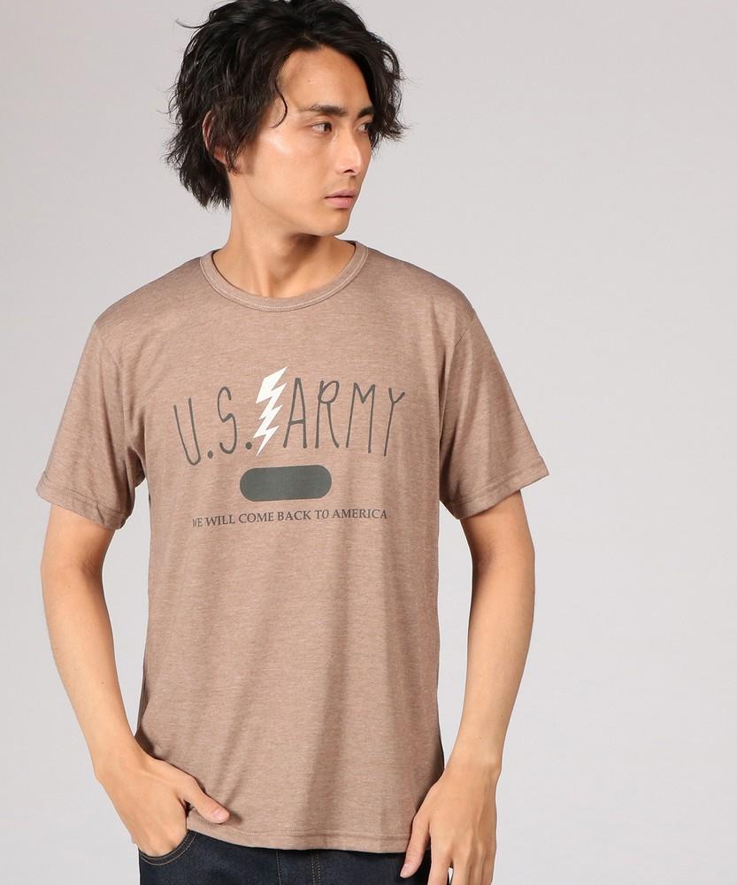 Authentic Garments 片染め杢天竺プリントTシャツ メンズ ベージュ