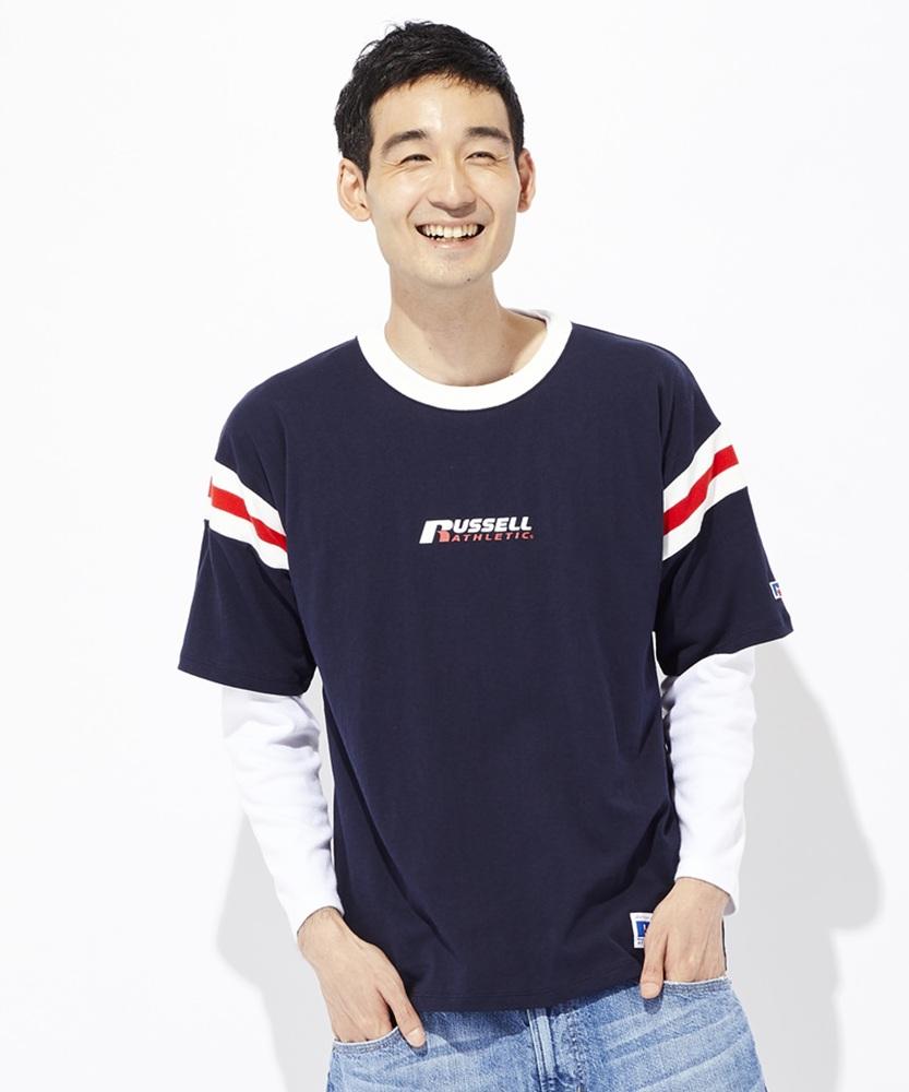 RUSSELL ラインリブフットボールTシャツ メンズ ネイビー