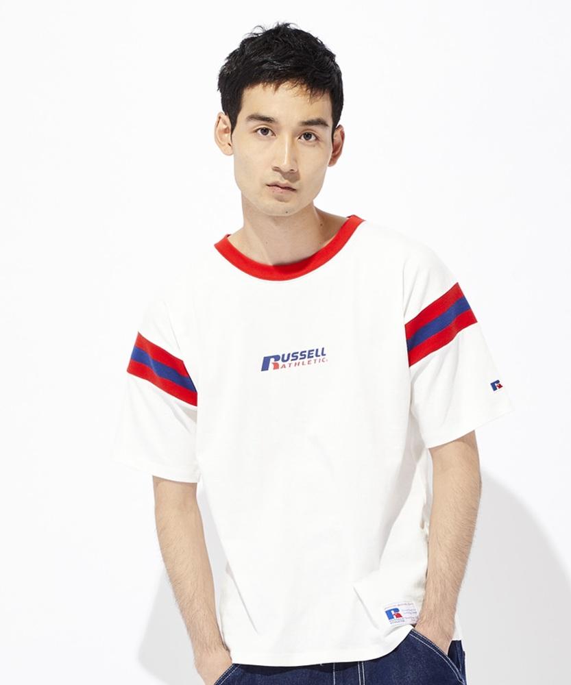 RUSSELL ラインリブフットボールTシャツ メンズ ホワイト