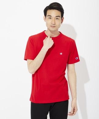 Champion ワンポイントロゴTシャツ メンズ レッド