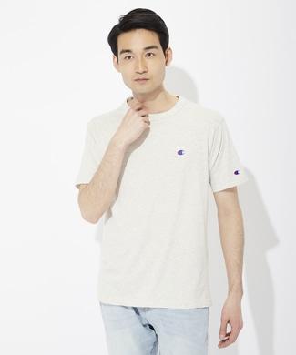 Champion ワンポイントロゴTシャツ メンズ クリーム
