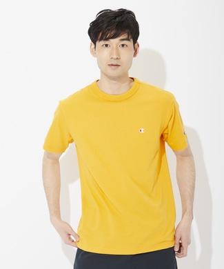 Champion ワンポイントロゴTシャツ メンズ イエロー