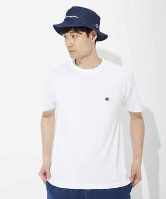 Champion ワンポイントロゴTシャツ メンズ ホワイト