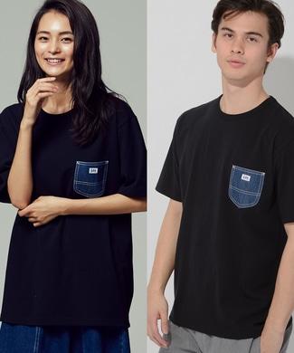Lee デニムポケット付キTシャツ メンズ ブラック
