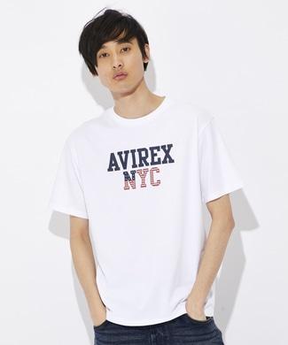 AVIREX USAモチーフプリントTシャツ メンズ ホワイト