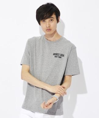 AVIREX USAモチーフプリントTシャツ メンズ グレー
