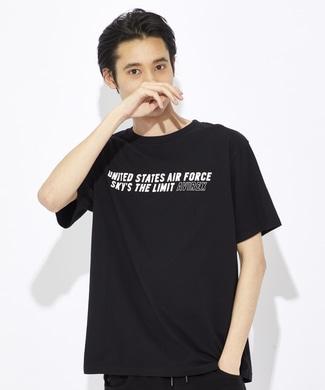 AVIREX USAモチーフプリントTシャツ メンズ ブラック