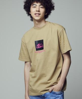 CAMP7 カラーロゴTシャツ ユニセックス ベージュ