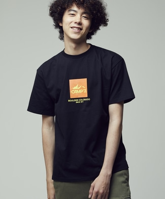 CAMP7 カラーロゴTシャツ ユニセックス ブラック