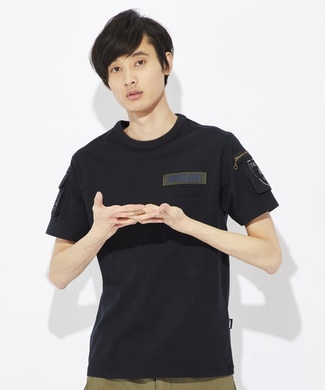 AVIREX ファティーグクルーネックTシャツ メンズ ブラック
