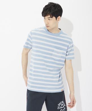 OCEAN PACIFIC 【ライトオン40周年記念限定モデル】ワンポイントロゴボーダーTシャツ メンズ 淡色