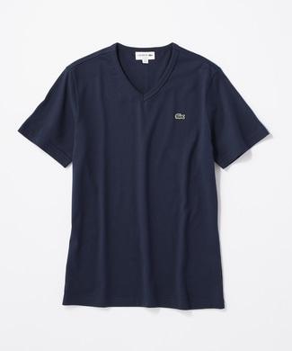 LACOSTE ワンポイントロゴVネックTシャツ メンズ ネイビー