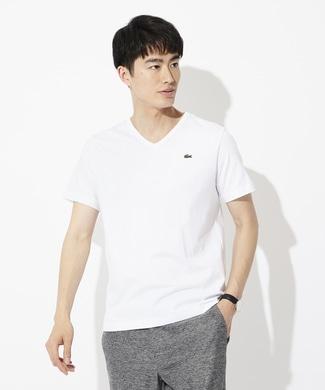 LACOSTE ワンポイントロゴVネックTシャツ メンズ ホワイト