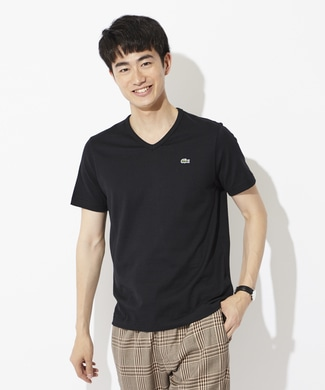 LACOSTE ワンポイントロゴVネックTシャツ メンズ ブラック