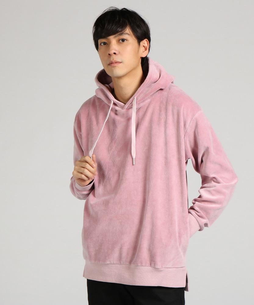 SUGGESTION ベロアピグメントプルパーカー メンズ ピンク