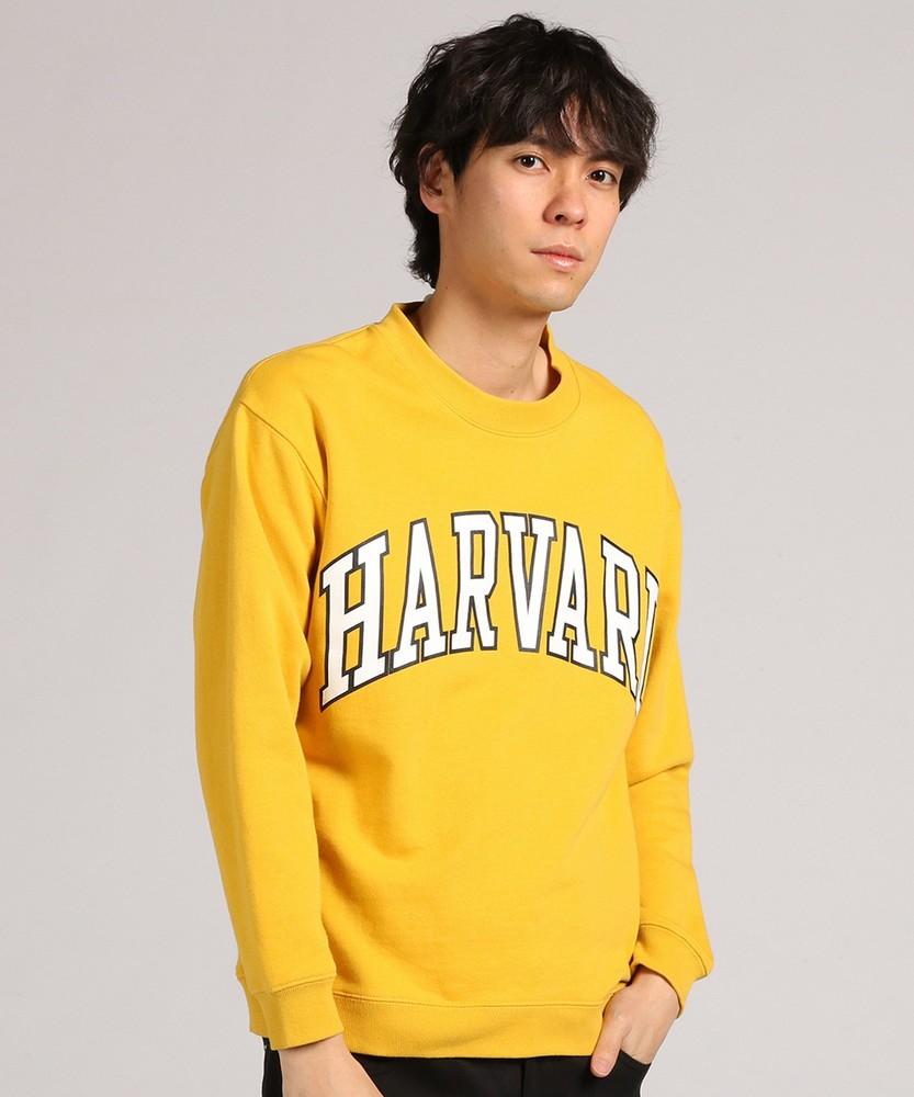 HARVARD カレッジプリントクルースウェットプルオーバー メンズ イエロー