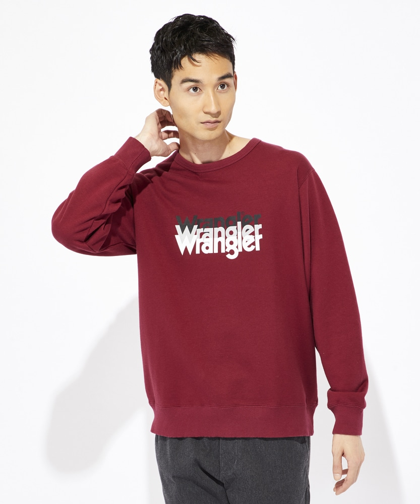 Wrangler ロゴスウェットトレーナー メンズ ワイン