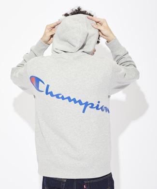 Champion 『ライトオン限定』バックプリントパーカー メンズ グレー