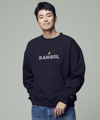 KANGOL 【期間限定スウェット2枚目半額 】ビッグシルエットクルーネックトレーナー メンズ ブラック