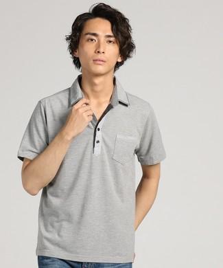 LOUIS CHAVLON 布帛フェイクスキッパーポロシャツ メンズ グレー