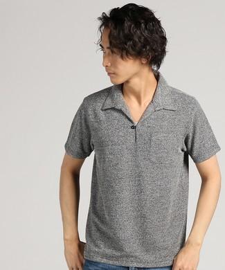 LOUIS CHAVLON ブークレパイルワンナップポロシャツ メンズ ブラック