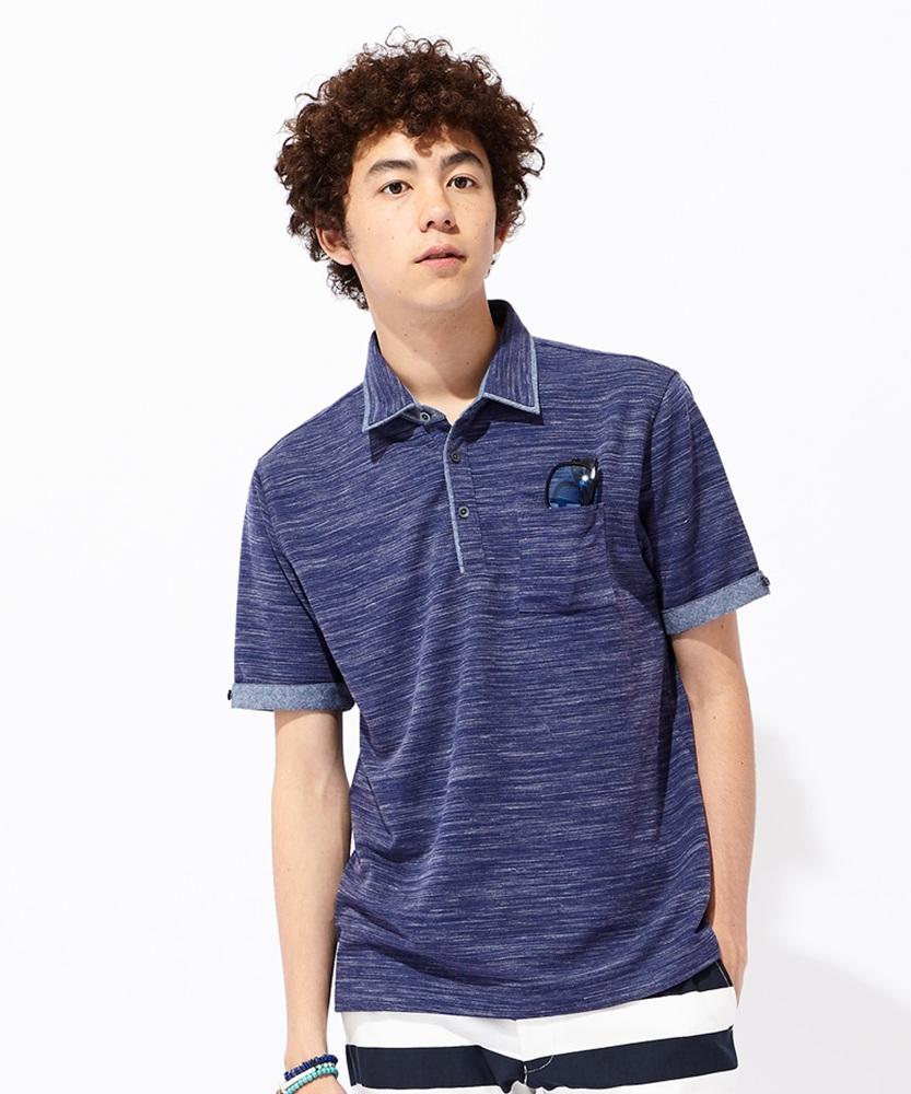 Other リップル杢布帛使いポロシャツ メンズ ブルー