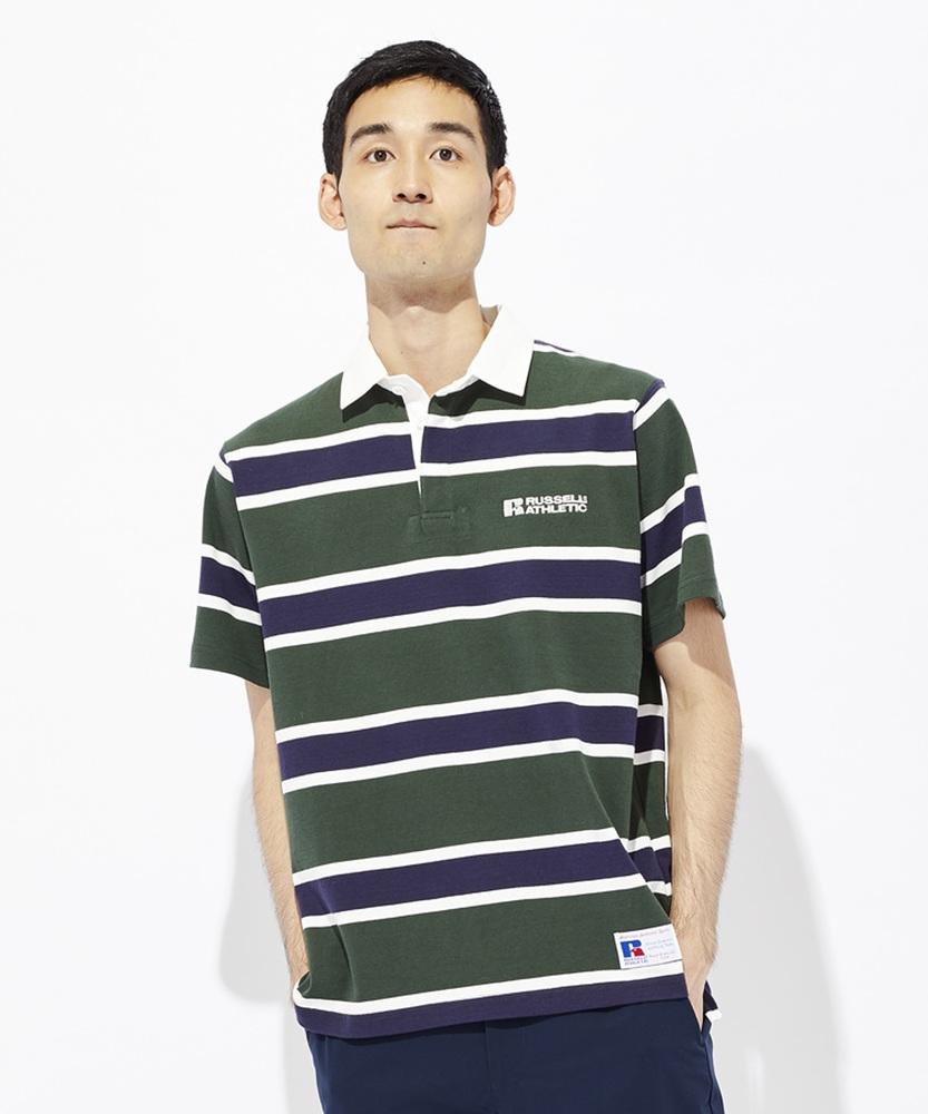 RUSSELL ラガーボーダーTシャツ メンズ グリーン